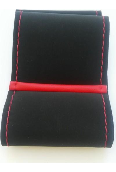Protec Yüzüklü Alcantara Model Dikişli Kırmızı Oto Direksiyon Kılıfı