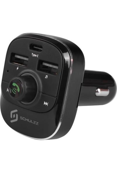 Schulzz T19 Araç Mp3 Çalar Bluetooth Fm Verici Transmitter Adaptör Şarj Aleti