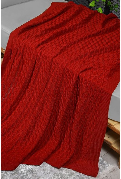 Konfor Kırmızı Triko Örgü Tek Kişilik Battaniye