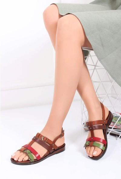 Deripabuc Hakiki Deri Multi-1 Kadın Deri Sandalet Dp-0072