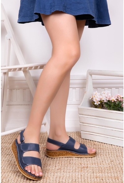 Deripabuc Hakiki Deri Lacivert Kadın Deri Sandalet Dp16-0303