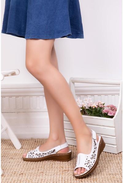 Deripabuc Hakiki Deri Beyaz Kadın Deri Sandalet Dp16-0602