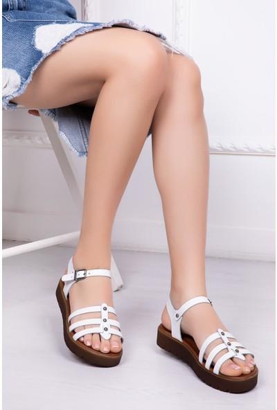 Deripabuc Hakiki Deri Beyaz Kadın Deri Sandalet Dp-0089