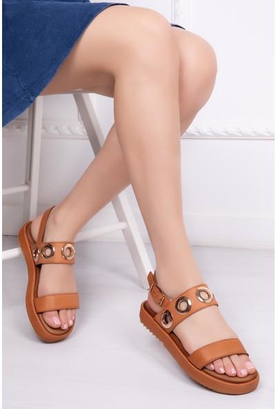Deripabuc Hakiki Deri Taba Kadın Deri Sandalet Dp53-9005