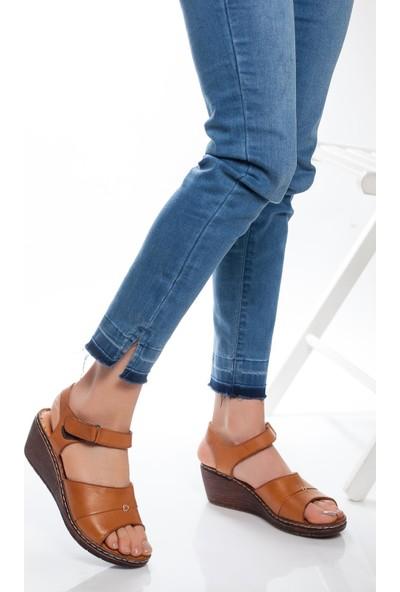 Deripabuc Hakiki Deri Taba Kadın Deri Sandalet Dp05-0232