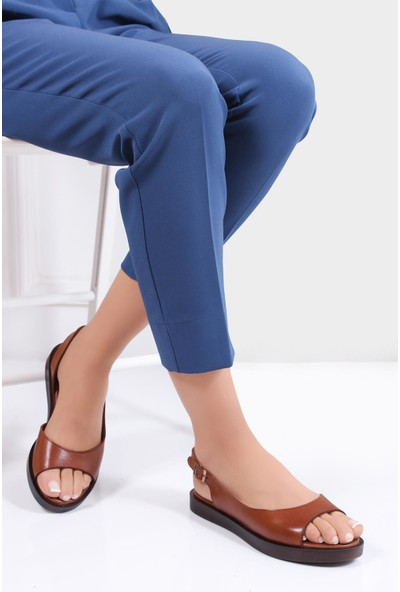 Deripabuc Hakiki Deri Taba Kadın Deri Sandalet Dp26-0565
