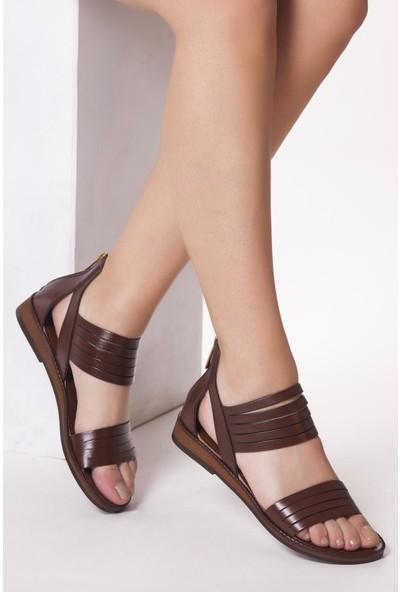 Deripabuc Hakiki Deri Kahverengi Kadın Deri Sandalet Dp27-0209