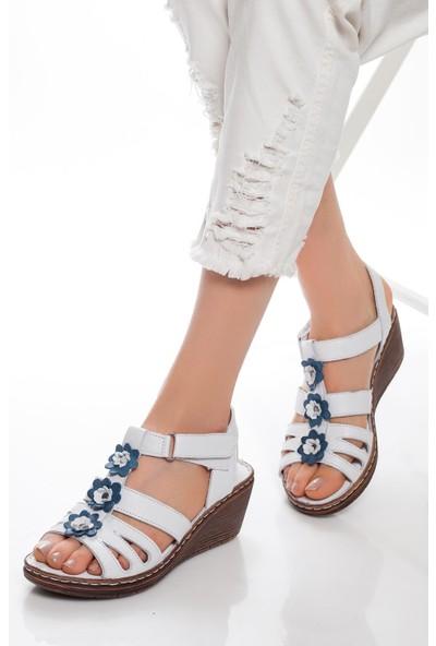 Deripabuc Hakiki Deri Beyaz Kadın Deri Sandalet Dp05-0503