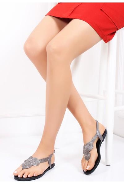 Deripabuc Hakiki Deri Platin Kadın Deri Sandalet Dp53-0011