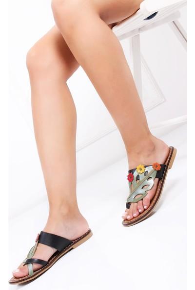 Deripabuc Hakiki Deri Kahverengi Kadın Deri Sandalet Dp28-0802