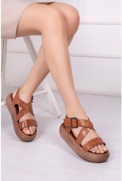 Deripabuc Hakiki Deri Taba Kadın Deri Sandalet Rma-8133