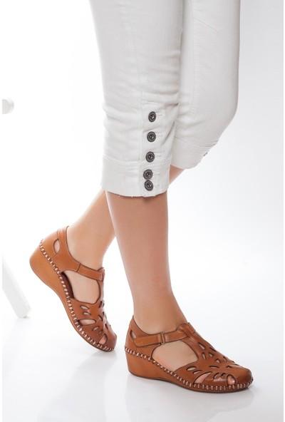 Deripabuc Hakiki Deri Taba Kadın Deri Sandalet Dp14-0913