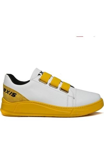 Axis MRD Lastikli Cilt Beyaz Sarı TB Ayakkabı