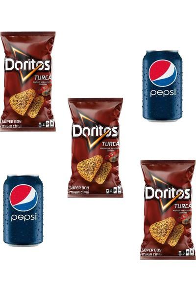 Doritos Turca Haşhaş Domates Mısır Cipsi 120 gr X3 Adet-Pepsi Kutu Kola 330 ml 2x Adet