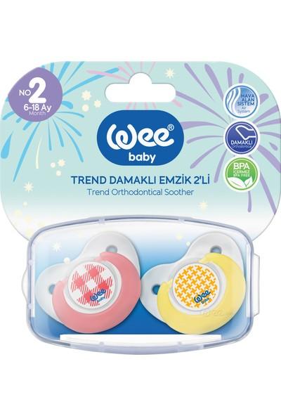 Wee Baby 2'Li Trend Damaklı Emzik No:2 (Saklama Kabı ile Beraberli) - Pembe