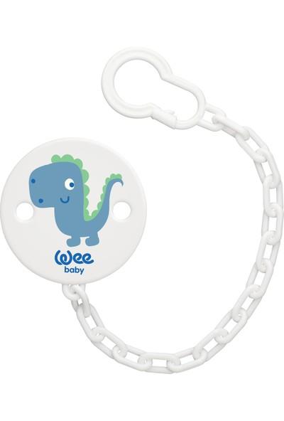 Wee Baby Desenli Emzik Askısı - Mavi Dinozor