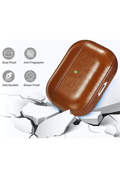 Ally Leather Case Apple AirPods Pro Pu Deri Koruma Kılıfı AL-32005 Kahverengi