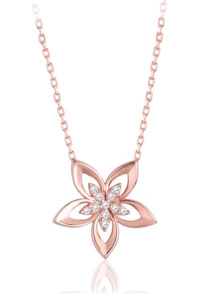 Swarovski Kadın Gümüş Çiçek Rose Kolye