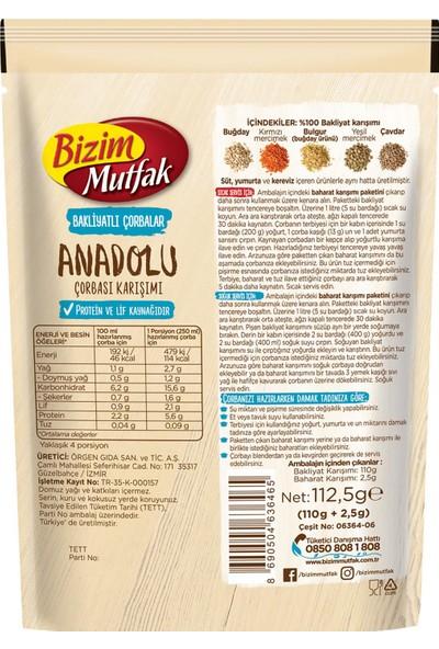 Bizim Mutfak Bakliyatlı Anadolu Çorbası 112,5 gr 12'li Paket