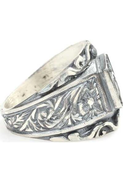 Nusret Takı 925 Ayar Gümüş Osmanlı Tuğrası Desenli Kalemkar Erkek Yüzüğü