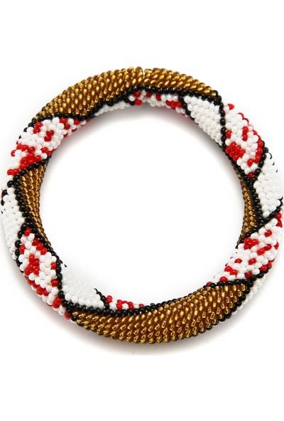 Barbiel Design Beyaz Kırmızı Gold Bohem Bileklik