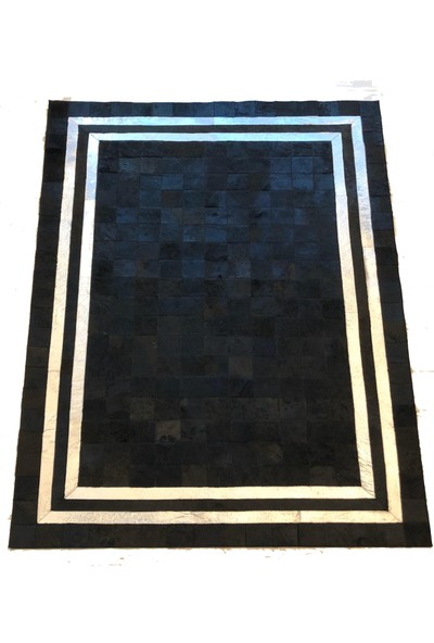 Bienna Fur Gümüş Varak Siyah Doğal Toskana Halı