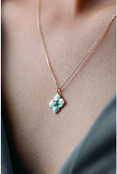 Mithra Jewelry Bouton D'or Tek Taşlı Turkuaz Gümüş Kolye