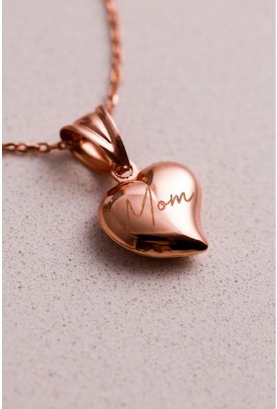 Mithra Jewelry Gümüş 3 Boyutlu Kalp Kolye Rose