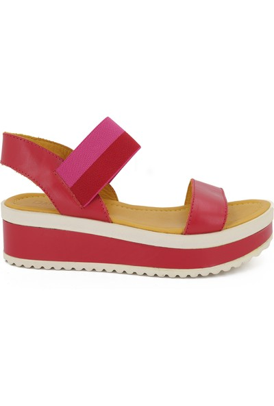 Damlax Kırmızı Kadın Yazlık Deri Sandalet 7225