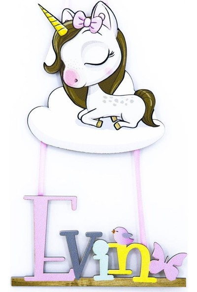 Meşgalem Bebek Ahşap Kapı Süsü Boynuzlu Unicorn