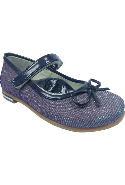 Cici Bebe Tıpış Patik Babet Lacivert Simli Kumaş Kız Çocuk Ayakkabı Cırtlı İçi Deri