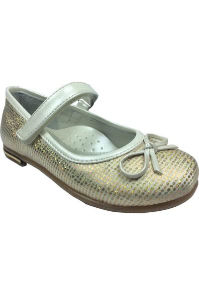 Cici Bebe Tıpış Patik Krem-Dore Baskılı Kız Çocuk Ayakkabı Cırtlı İçi Deri