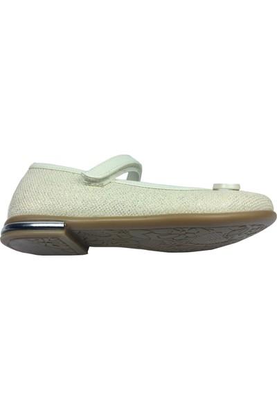 Cici Bebe Tıpış Patik Babet Krem Simli Kumaş Kız Çocuk Ayakkabı Cırtlı İçi Deri
