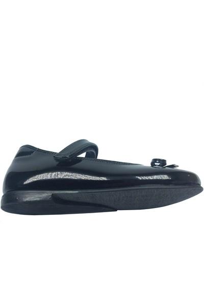 Cici Bebe Tıpış Patik Babet Siyah Rugan Kız Çocuk Ayakkabı Cırtlı İçi Deri