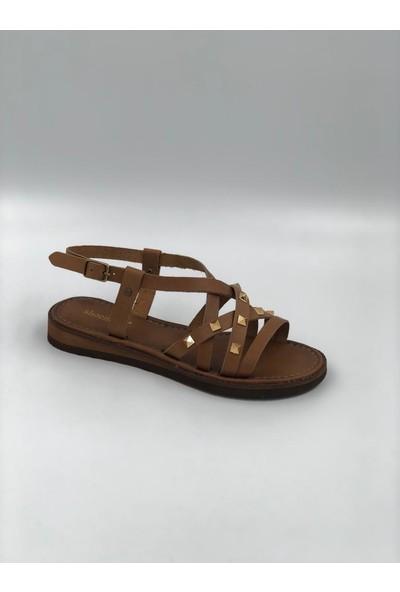 Shoemark Bodrum Zımbalı Taba Gerçek Deri Sandalet