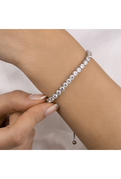 Swarovski Kadın Gümüş Su Yolu Bileklik