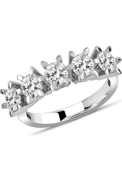 Gümüş Tezgah Çiçek Model Beştaş Yüzük