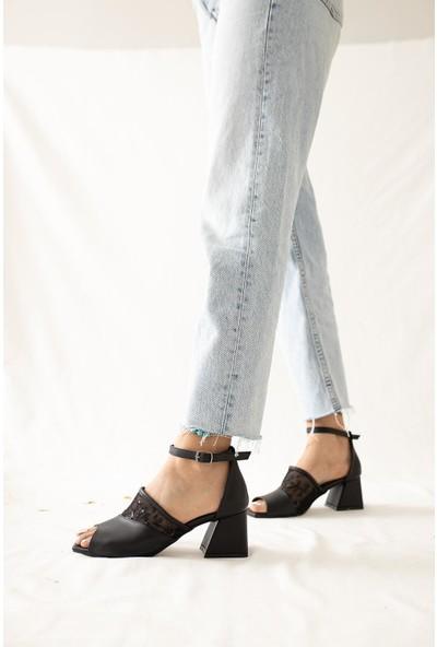 Limoya Anaya Siyah Dantel Detaylı Kemerli Kare Burunlu Alçak Topuklu Sandalet