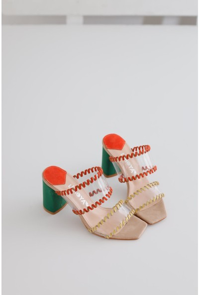 Limoya Julianne Renkli Şeffaf Bantlı Topuklu Terlik