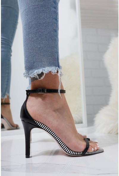 Limoya Joselyn Siyah Çizgili İnce Bantlı Parmak Arası Bilekten Kemerli İnce Topuklu Sandalet