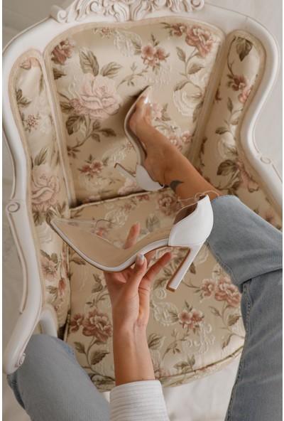 Limoya Laurel Beyaz Şeffaf İnce Topuklu Sivri Burunlu Stiletto