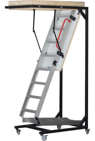 2mm Ahşap Alüminyum Katlanır Çatı Merdiveni 70 x 130 cm
