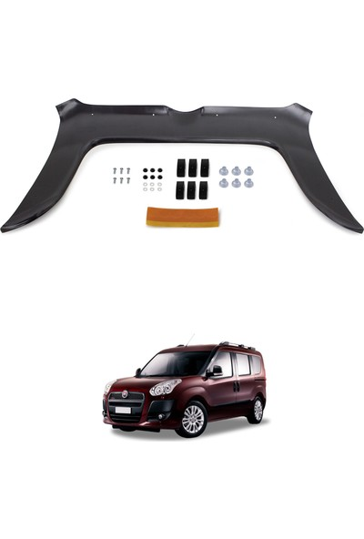 Fiat Doblo Ön Kaput Koruyucu Rüzgarlık Deflektör Akrilik ABS 4mm Parlak Siyah 2010-2015