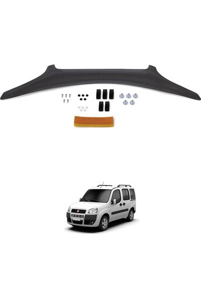 Fiat Doblo Ön Kaput Koruyucu Rüzgarlık Deflektör Akrilik ABS 4mm Parlak Siyah 2006-2010