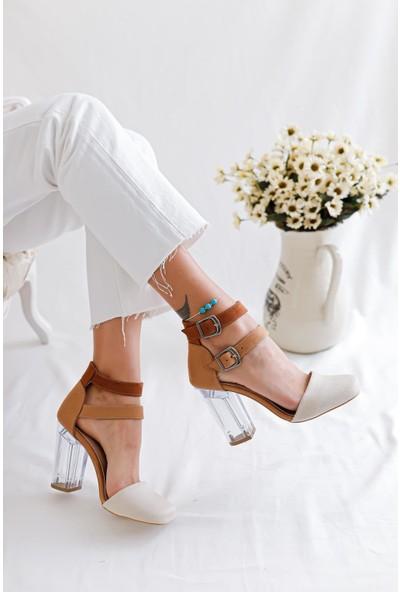 Limoya Sally Ten Kum Taba Süet Çift Tokalı Şeffaf Topuklu Sandalet