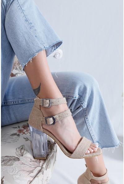 Limoya Angelina Hasır Tek Bantlı Çift Tokalı Şeffaf Topuklu Sandalet