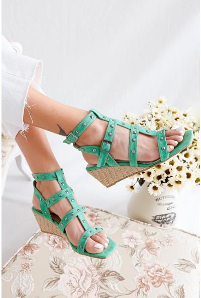 Limoya Alondra Yeşil Süet Troklu Kafesli Sandalet