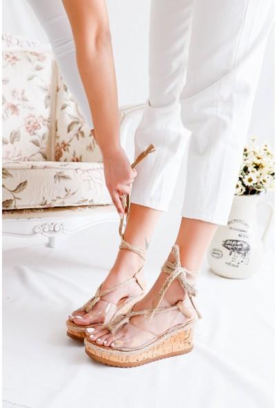 Limoya Arlene Şeffaf Bantlı Hasır Bağlamalı Dolgu Topuklu Sandalet