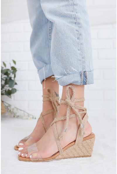 Limoya Lillianna Hasır Bilekten Bağlamalı Şeffaf Bantlı Hasır Topuklu Dolgu Sandalet