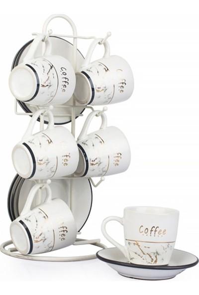 EWS 6'lı Desenli Kahve Fincanı Seti